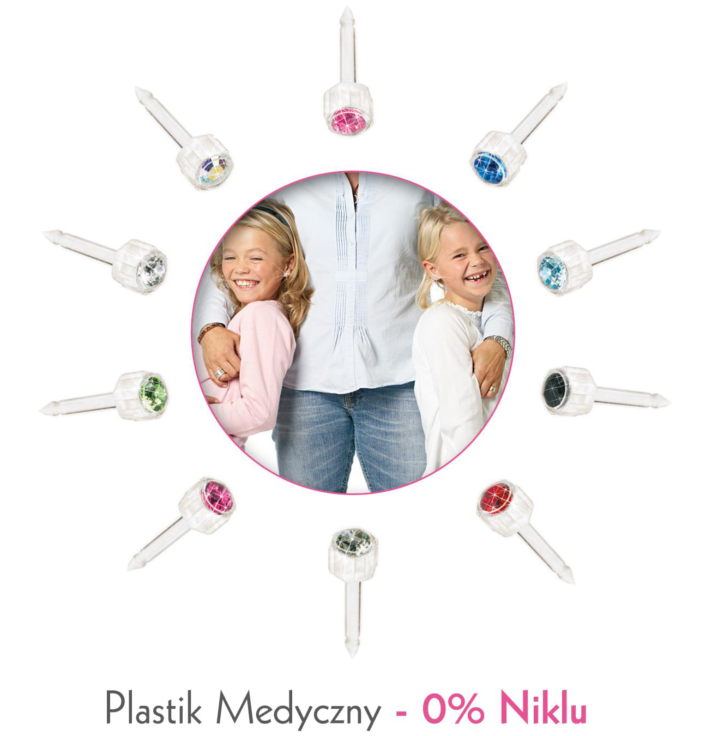 Nigdy nie narażaj dzieci na działanie wyrobów zawierających nikiel. Plastik medyczny firmy Blomdahl to jedyny materiał na świecie, stosowany do przekłuwania uszu u dzieci, który nie zawiera niklu. Dlatego rekomendujemy go dzieciom i dorosłym jako produkt całkowicie bezpieczny dla skóry.