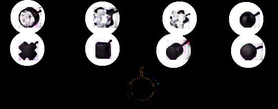 Biżuteria hipoalergiczna - Blomdahl - Czarny Tytan Medyczny - Kryształy Swarovskiego