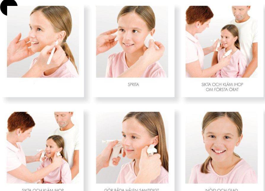 przekłuwanie uszu u dzieci dwoma aparatami jednocześnie